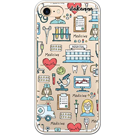 dakanna Custodia per [iPhone 7 - iPhone 8] Ospedale Cuore Ambulanza Medici Simboli, Cover in Gel di Silicone TPU Morbido di Alta qualità con [Sfondo ...
