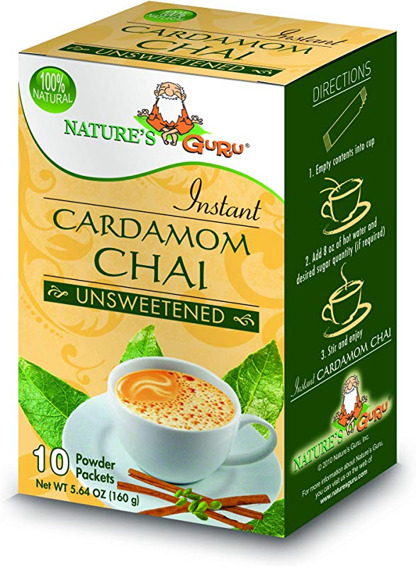 Nature S Guru Instant Cardamom Chai Tea Drink Mix Unsweetened 10 Count Single Serve On The Go Drink Packets