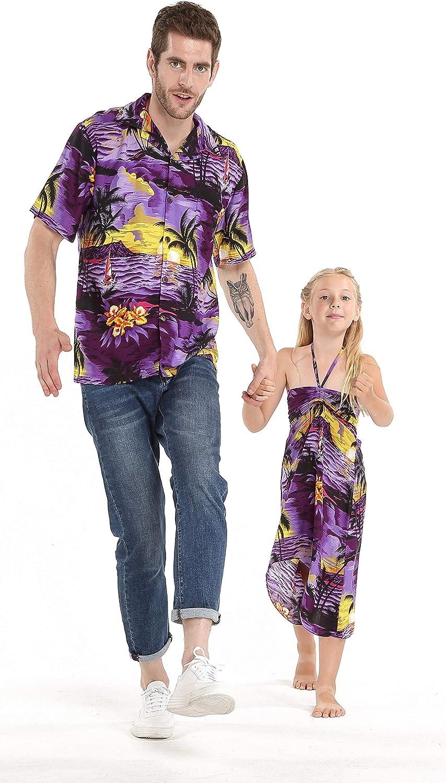 Max 73% OFF Matching Hawaiian Luau Outfit Men Shirt Girl Dress in Sunset Max 80% OFF Blu