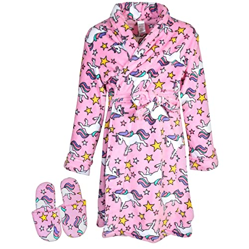 Sleep   Co Big Girls Fleece Robe Slippers Set 040b228bd