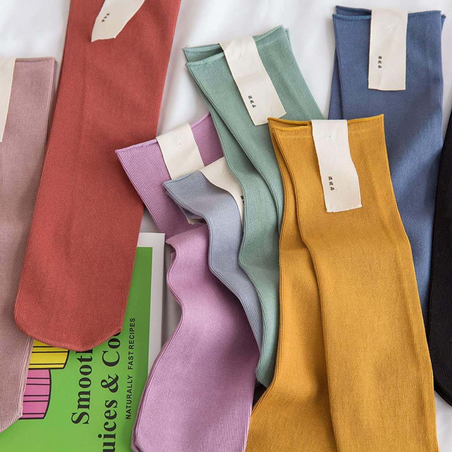 TeenFighter 11 Pairs of Comfortable Casual Cotton Socks for Women, Crew Size for Sports, Solid Color Stretch Socks for Girls