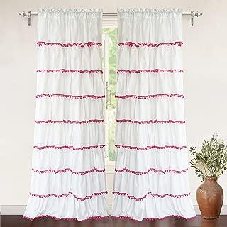 DriftAway Pom Pom Ruffle Window Curtain Rod Pocket 1 Panel 52 Inch by 84 Inch Plus 2 Inch Header Pink