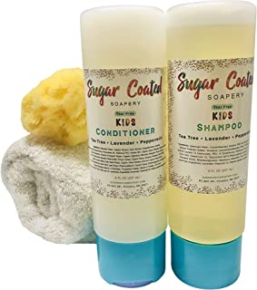 Tear-free Kids Shampoo and Conditioner Set with Tea Tree Oil   Natural Baby Bath Essentials   Anti-Lice, Dandruff, Dry, Itchy Scalp & Cradle Cap Relief   Dry and Oily, ALL Hair Types