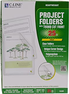 C-Line Biodegradable Poly Project Folders, Reduced Glare, Clear, 8.5 x 11 Inches, 25 per Box (62627)