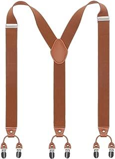 Men's Y-Shaped Heavy Duty Suspenders – 6 Metal Clips, Elastic Straps