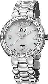 Burgi Womens Quartz Watch, Analog Display and Stainless Steel Strap BUR084SS