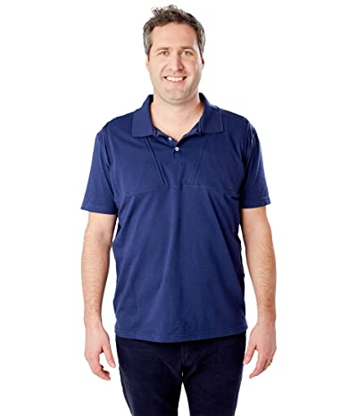Care+Wear Dual Chest Port Access Polo (Navy Blue) Men