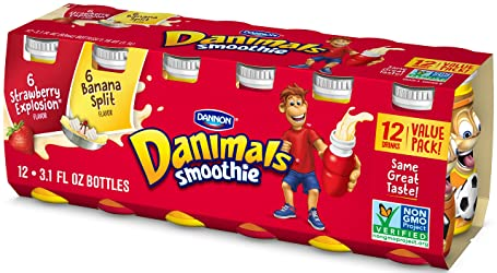 Dannon Danimals Smoothie Lowfat Dairy Drink Variety Pack, Strawberry Explosion & Banana Split, 3.1 O