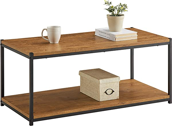 Tall Center Table Coffee Table By CAFFOZ Furniture Designs Storage Shelf Sturdy Easy Assembly Brown Oak Wood Look Accent Furniture With Metal Frame