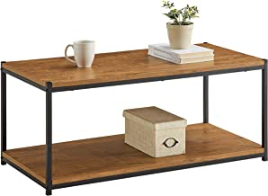 Tall Center Table Coffee Table by CAFFOZ Furniture Designs | Storage Shelf | Sturdy | Easy Assembly | Brown Oak Wood Look Accent Furniture with Metal Frame