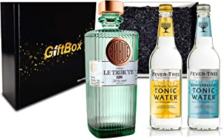 Gin Tonic Giftbox Geschenkset - Le Tribute Gin 0,7l 43% Vol  2x Fever Tree Tonic Water Mix je 200ml inkl. Pfand MEHRWEG - Enthält Sulfite