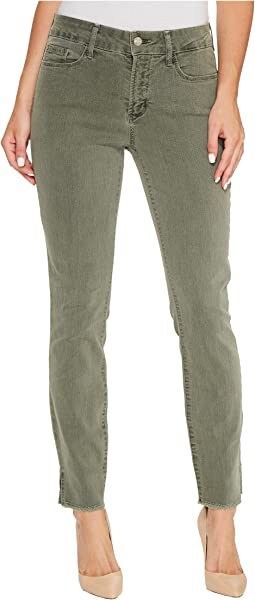 Ami Skinny Ankle Jeans w/ Fray Side Slit in Fatigue