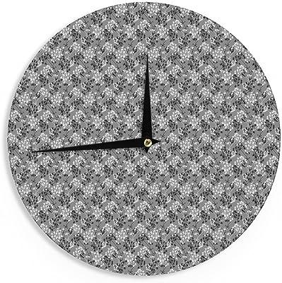 Kess InHouse Julia Grifol Three Leaves Black Grey Nature 12 Wall Clock