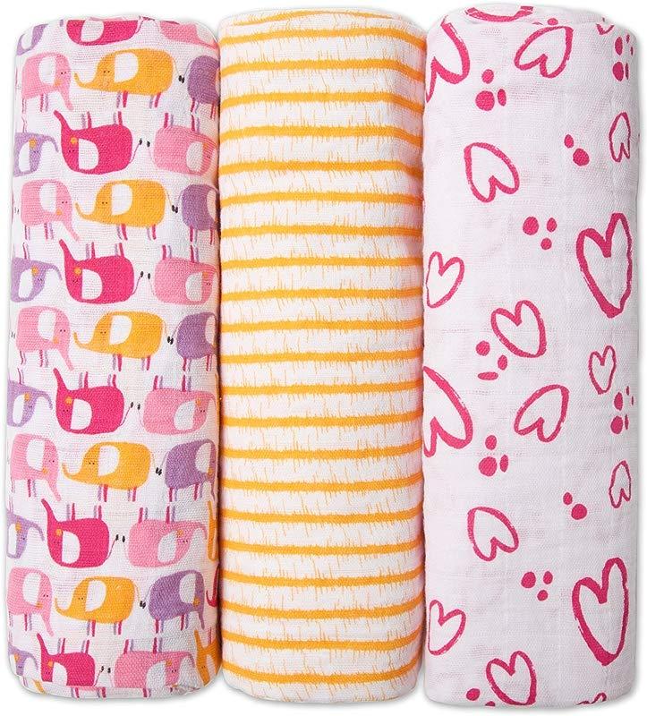 Zutano Cotton Muslin 3 Pack Swaddles 47 X 47 Pink Elephants Hearts