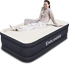 Englander First Ever Microfiber AIR Mattress Twin Size, Luxury Airbed with Built in Pump, Highest End Blow Up Bed, Inflatable Air Mattresses for Guests Home Travel 5-Year Warranty (Black)