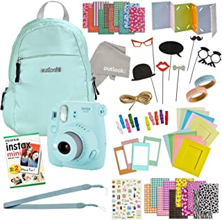 Instax Mini 9 Camera Travel Bundle - 60 Piece Accessory Kit with Shoulder Bag, 20 Sheets of Film, Lens Cleaning Cloth, Strap, Washi Tape, Stickers, Photo Frames + Album-by Outlook 2020 (ice Blue)