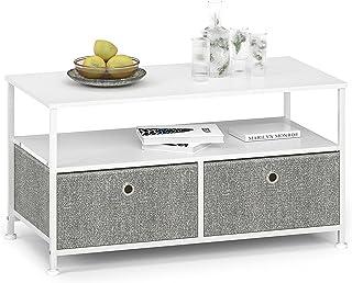 Soffbord med 2 lådor i tyg och öppet fack soffbord litet fyrkantigt metall TV-skåp modernt industristål trä vitt ljusgrått