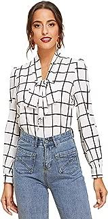 Women's Bow Tie Neck Plaid Long Sleeve Blouse Tops