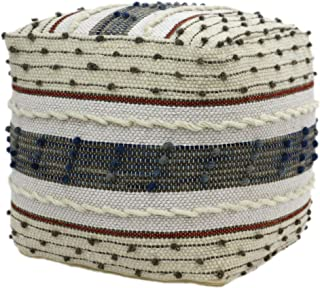 Christopher Knight Home Riva Boho Wool and Cotton Ottoman Pouf, Blue, White, and Red
