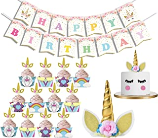 LUCK COLLECTION Unicornio Fiesta de cumpleaños Juego de Unicornio Cupcake Wrappers and Toppers Oro Unicornio Cuerno