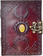 Leather Journal Handmade Solar Plexus Stone Celtic Triple Moon New Embossed Vintage Daily Notepad for Men & Women Unlined Paper 7 x 5 Inches, Sketchbook & Writing Notebook