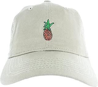 Pineapple Dad Hat Cap - Pineapple Emoji Embroidered Adjustable Baseball Cap