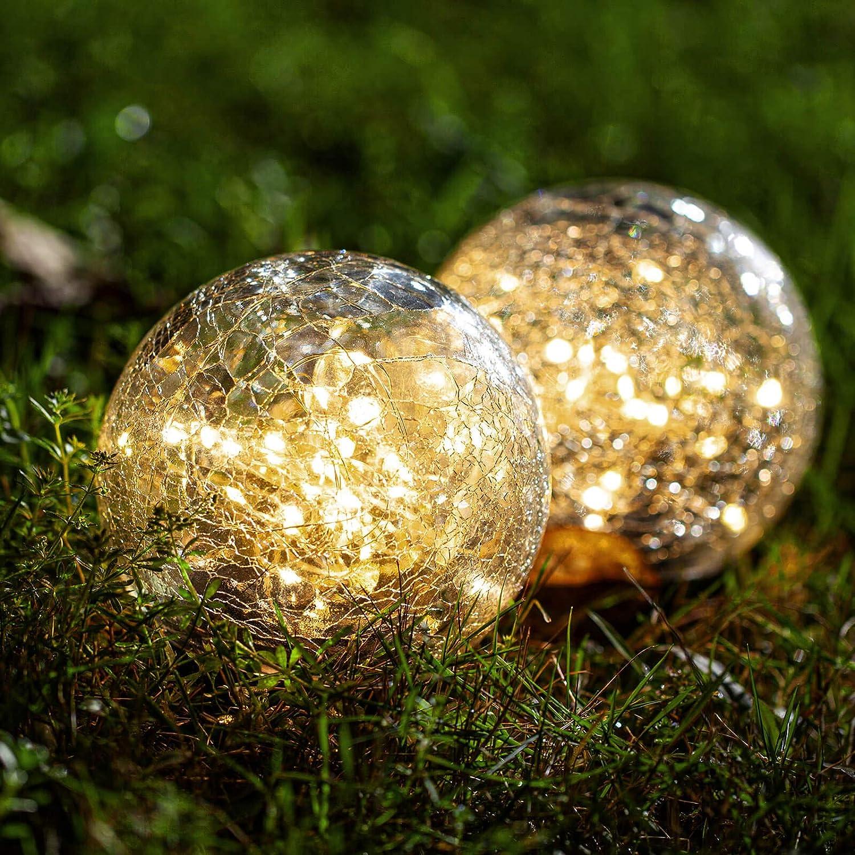 Globe Solar Lights Outdoor Decorative - 2 Pack Cracked Glass Ball Lights 4.73