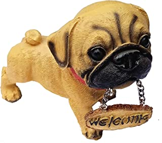 SSL TRUST ME Welcome Dog Poly Resin Eco Friendly Cute Dog Idol Figurine with Welcome Board Home Decorative showpiece for L...
