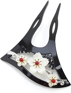 (ソウビエン) バチ型簪 かんざし 黒 ブラック 螺鈿調 桜 [結婚式/着物/和装/成人式]