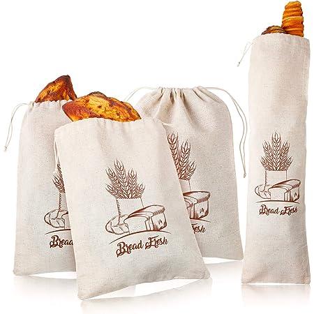4 Sacs de Pain en Lin Sacs de Rangement de Pain avec Cordon de Serrage Sac de Lin Réutilisable Sacs d'Épicerie Imprimé pour Stockage de Nourriture Pain Fait Maison, 12 x 16 Pouces et 27 x 8 Pouces
