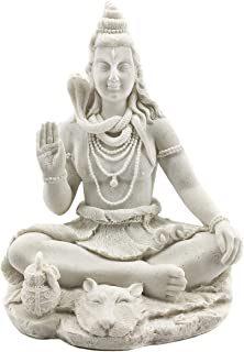 Bellaa 24063 Lord Shiva Blessing Meditating Sitting Hindu God Statues Marble Powder 8 inch
