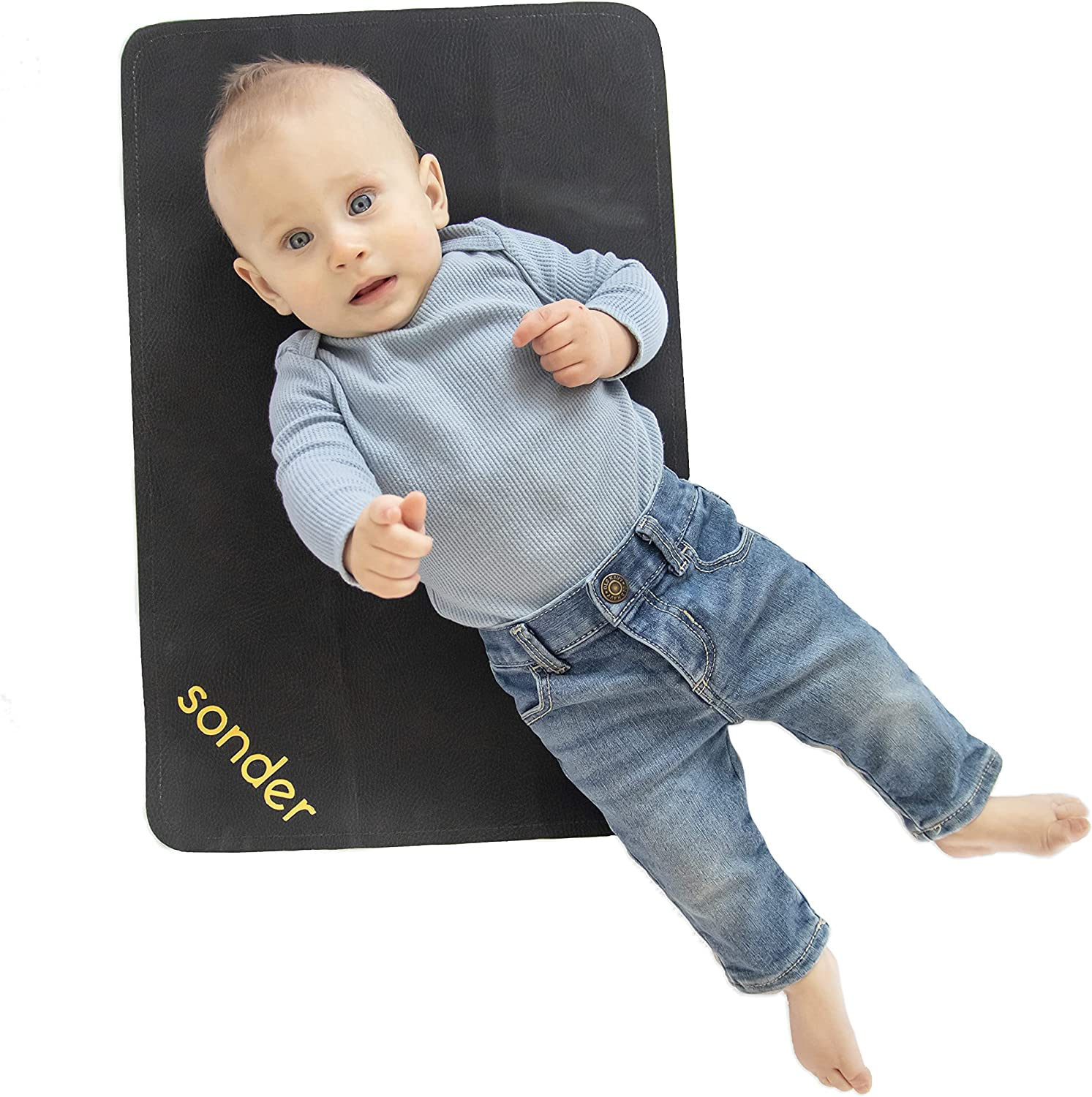SONDER Double Sided Vegan Leather Changing Mat - Infant and Toddler Multipurpose Portable Waterproof Diaper Pad - Compact for Travel - Deluxe Diaper Changer (Raven + Ivory, 14