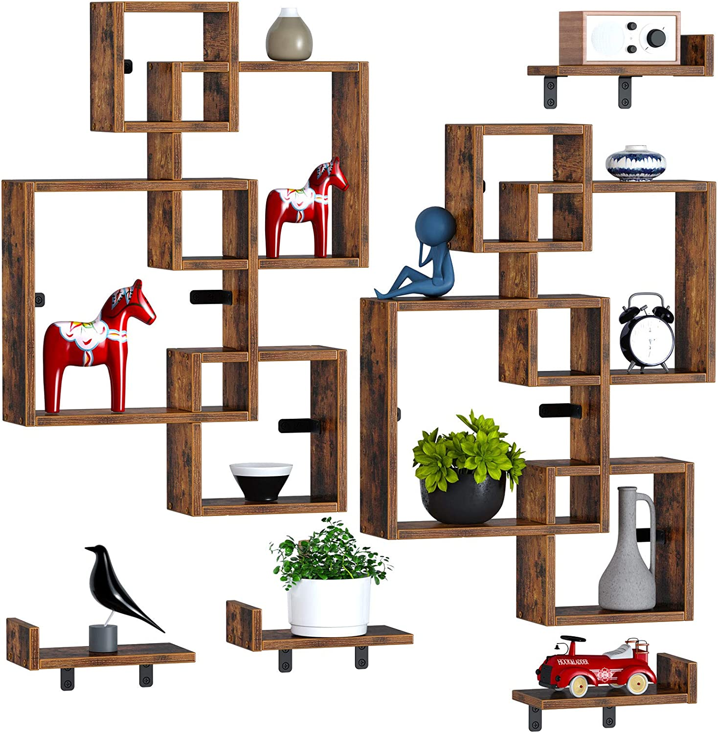 Rolanstar Floating Shelves, Wall Mounted 4 Cube Intersecting Floating Shelf Set for Decor and Storage for Living Room, Bedroom, Home Decor Furniture, Rustic Brown 2 Pack