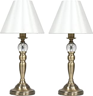 Pair of - Modern Antique Brass Touch Table Lamps with Glass Feature and a Cream Tapered Shade
