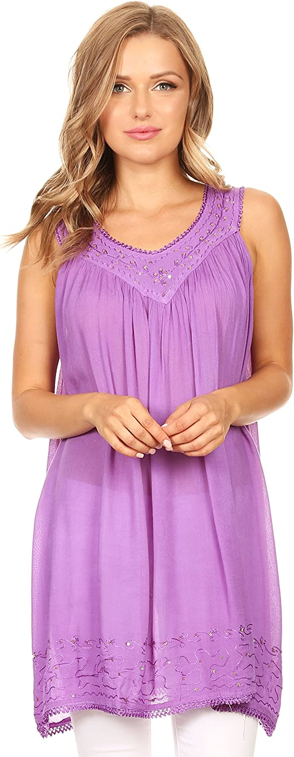 Sakkas Rita Womens Picot Trim V Neck Tank Blouse with Seqins and Embroidery