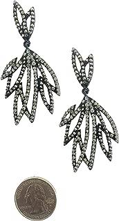 Geometric Feather Fan Art Deco Vintage Retro Style Jet Black Onyx Gray Marcasite Grey Rhinestone Statement Earrings