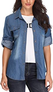 16dc1e92edf Denim Shirt for Women Rolled Long Sleeves Cotton Washed Point Collar  Chambray Western Jean Tops