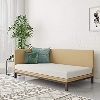 DHP Dale Upholstered Daybed/Sofa Bed Frame, Twin Size, Tan Linen