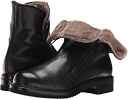 Double Zip Ankle Boot With Shearling Lining