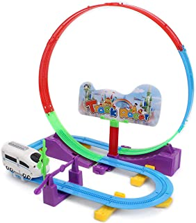 Wishkey 360 Degree Rotational Paradise Plastic Roller Coaster 32 Pcs Stunt Track Racer Set (Multicolor)