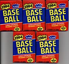 5 Unopened Packs of 1984 Fleer Baseball Cards (15 cards/pack) - Possible Rookies Of Don Mattingly, Darryl Strawberry and more