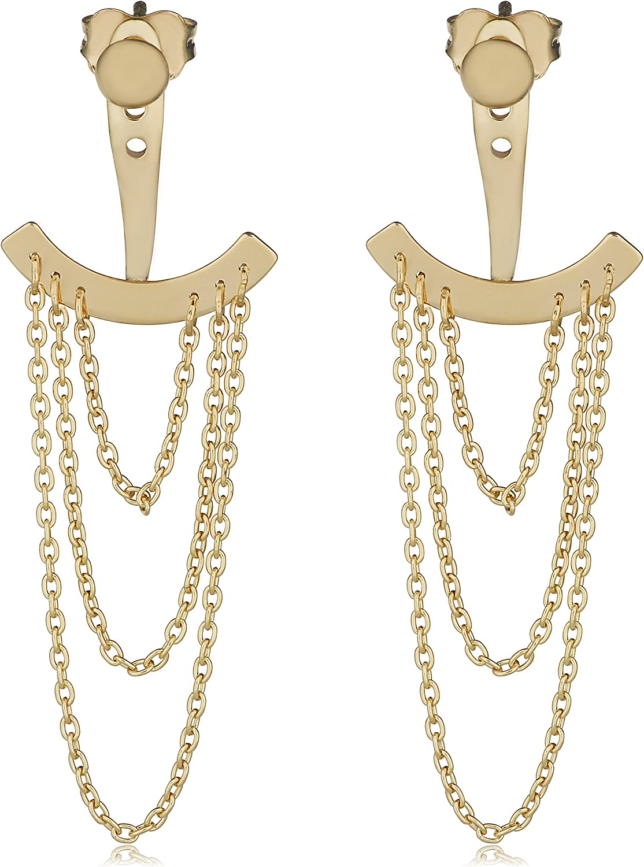 Kooljewelry 14k Yellow Gold Layered Ear Jacket Earrings