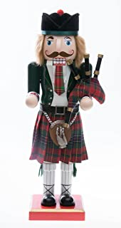 "Clever Creations Scottish Wooden Collectible Nutcracker Wearing Scottish Kilt, Green Coat, and Plaid Hat with Bagpipes | Festive Decor | Perfect for Shelves and Tables | 100% Wood | 14"" Tall"