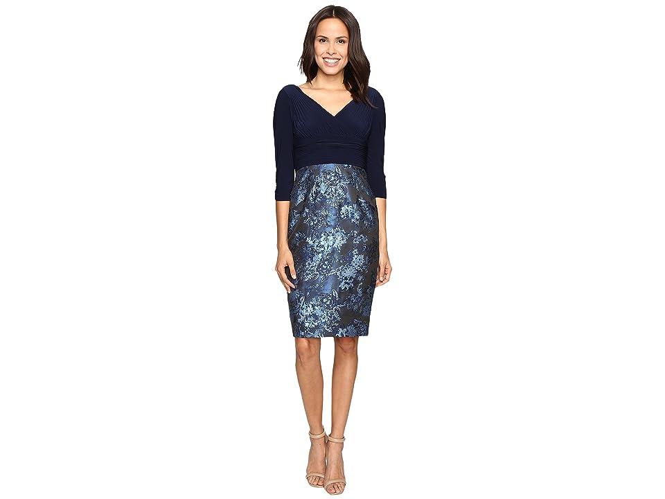 Adrianna Papell Deep V Jersey Jacquard Dress (Midnight) Women