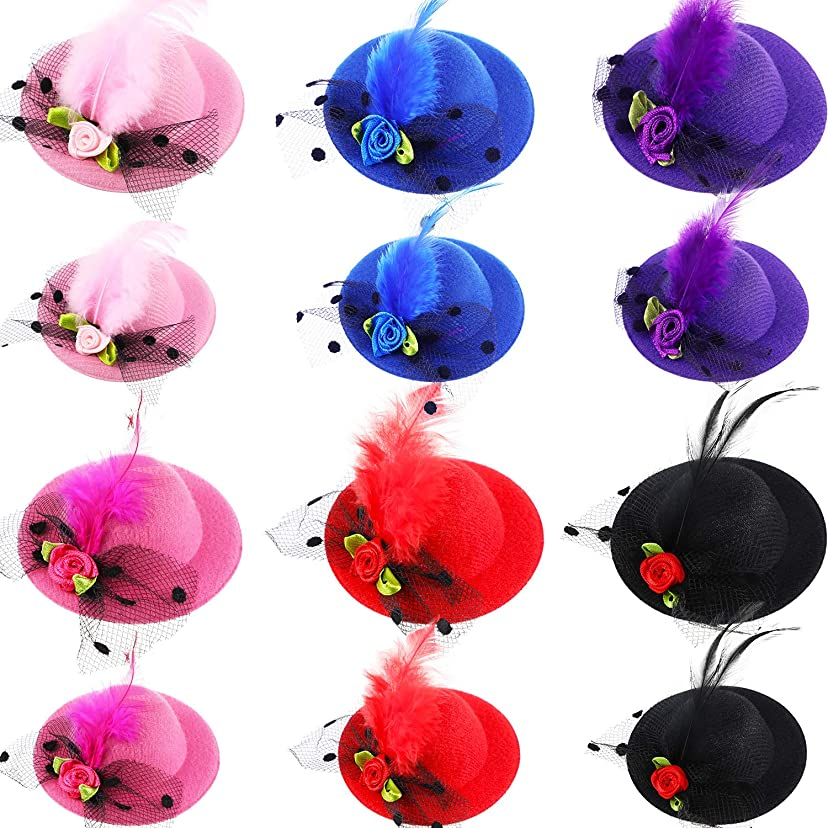抵抗起きている幻想12ピース 帽子 ヘアクリップ ファシネーター ハット クリップ ミニトップハット メッシュフェイクフラワー フェザー 女の子用 コスチューム パーティー アクセサリー 着用 2サイズ