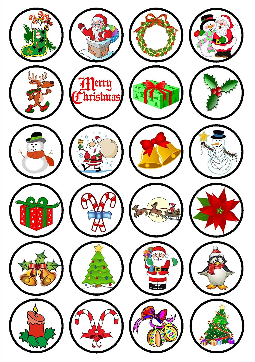 wafer card disc cake decorations Stand UpLie Flat 24 Christmas Mix #1 PRECUT Edible Cupcake Toppers