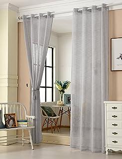 WOLTU zestaw 2 przezroczystych zasłon, z oczkami, o wyglądzie lnu, podwójne opakowanie, woal, szal dekoracyjny do salonu, ...