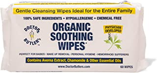 Dr Butler's Organic Soothing Wipes – All Natural, Hypo-Allergenic Hemorrhoid Treatment Wipes to Help Moisturize and Soothe...