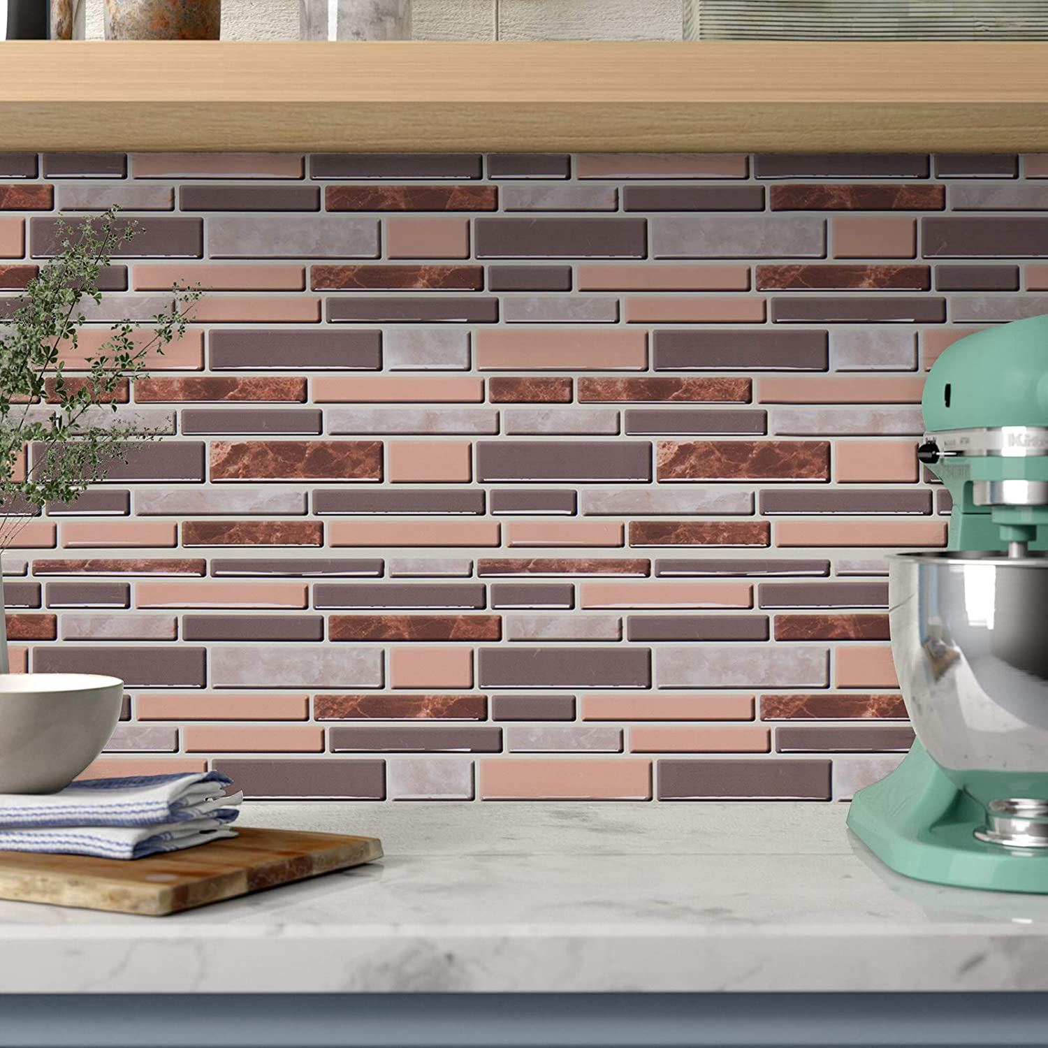 """Gray and Brown Kitchen Wallpaper Peel and Stick Wallpaper Bathroom  Wallpaper Countertop Removable Wallpaper for Kitchen 9.9""""x 99.9""""  Waterproof Self ..."""