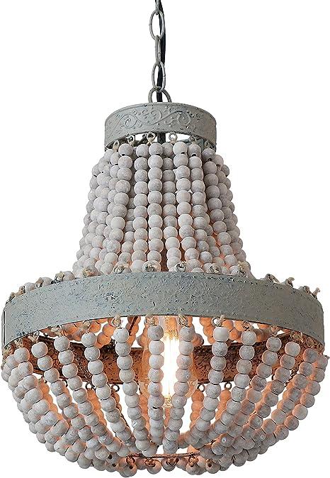 Anmytek Wood Bead Chandelier Dinning Room Pendant Light Gray White Finishing Kitchen Island Lighting Retro Vintage Rustic Beads Ceiling Lamp Light Fixtures 1 Light Amazon Com